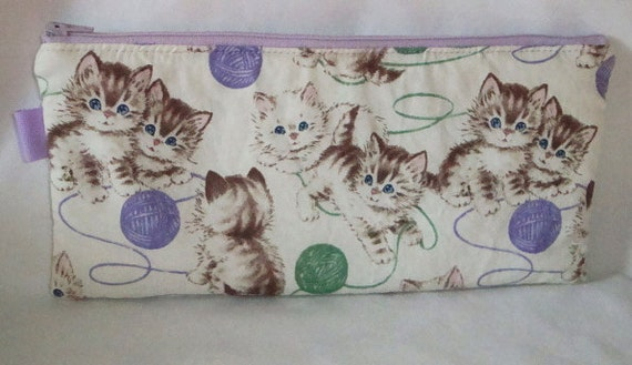 Vintage Kitties Pencil Case --- Purple and Green