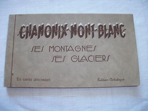 Book 20 Postcards 1930s Sepia Skiing Chamonix Mont Blanc Mountains Glaciers Art Deco