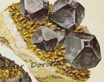 Molybdenite Zinc Sphalerite Galena Crystal Stone Mineral Vintage Lithograph Edwardian Geology Print To Frame 5
