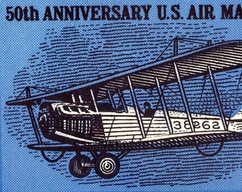 US Air Mail Service 50th Anniversary Stamp 1968s Aviation Poster Color Man-Cave Lithograph To Frame