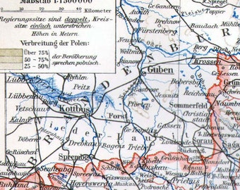 Silesia Schlesien Prussia Map 1887 Victorian Steel Engraving European Cartography To Frame