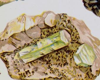 Sodalite Lapis-lazuli Leucite Beryl Crystal Stone Mineral Vintage Lithograph Edwardian Geology Print To Frame 28