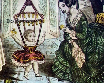 Baby Jumper & Congress Stove Polish Vintage Lithograph 1873 Victorian Era Advertisement Poster To Frame