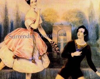 Marie Taglioni En Pointe Swedish Ballet Dancers Vintage Lithograph Illustration Romantic Era Poster  Print To Frame