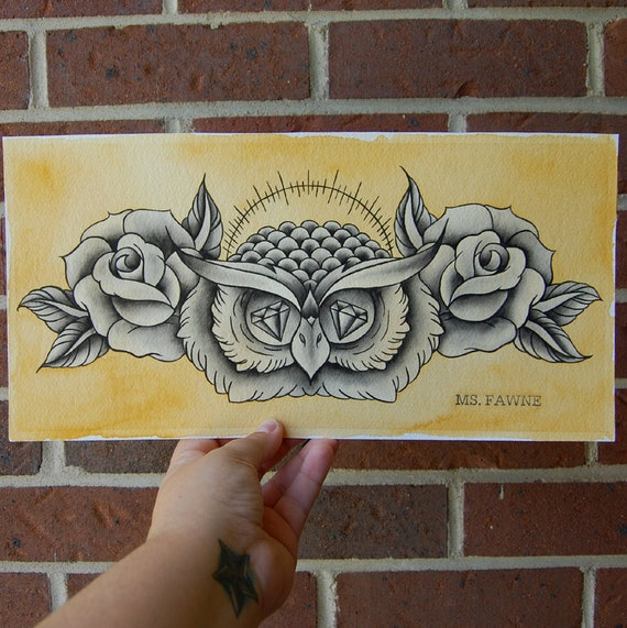 Diamond Eyed Owl with Roses Watercolor Painting
