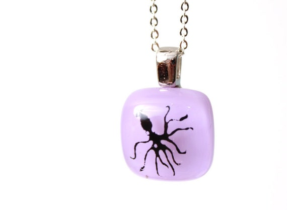 Squid Necklace in Lavender - Nautical Pendant of Fused Glass by Happy Owl - Black and Lavender or Lilac