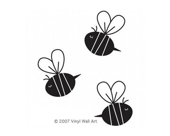 Bee Decals (Set of 3) size MEDIUM - Bee Decor, Bee Wall Art, Bee Design, Nursery Bee, Nursery Design, Baby Bee, Child Design, Child Decor