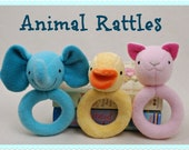 Animal Rattles to Sew - PDF Sewing Pattern - Cute Easy To Make Baby Shower Gift