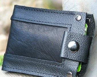 Men's Black Leather Snap Wallet, Minimalist Bifold Bilfold Money Clip