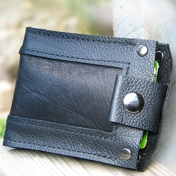 Men's Black Leather Snap Wallet, Minimalist Bifold Bilfold Money Clip
