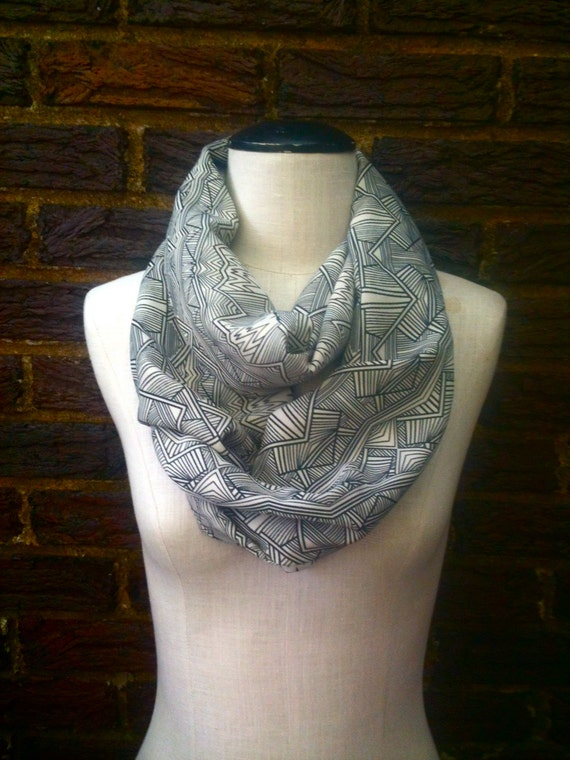Native inspired Geometric line drawing summer to fall infinity loop circle scarf