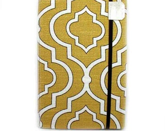 iPad Mini Cover - made to order - Honey Gold Lattice - women's tablet accessory - mustard yellow ogee pattern gadget case for iPad Mini