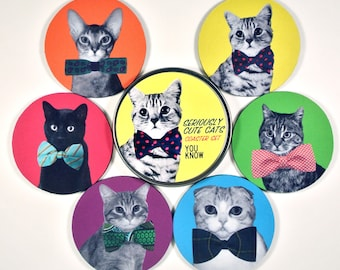 Seriously Cute Cats coaster set kitties in bow ties FUNNY coasters with matching tin gift for cat lovers Gifts Under 20 tabby scottish fold
