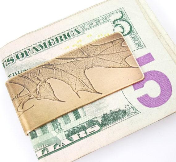 Bronze Money Clip, Oak Leaf