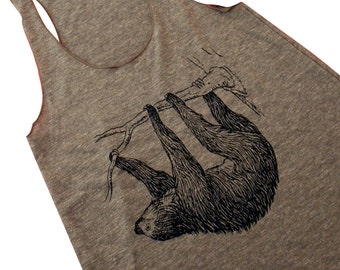SLOTH Tank Top - American Apparel Tri-Blend Tank - Available in sizes S, M, L