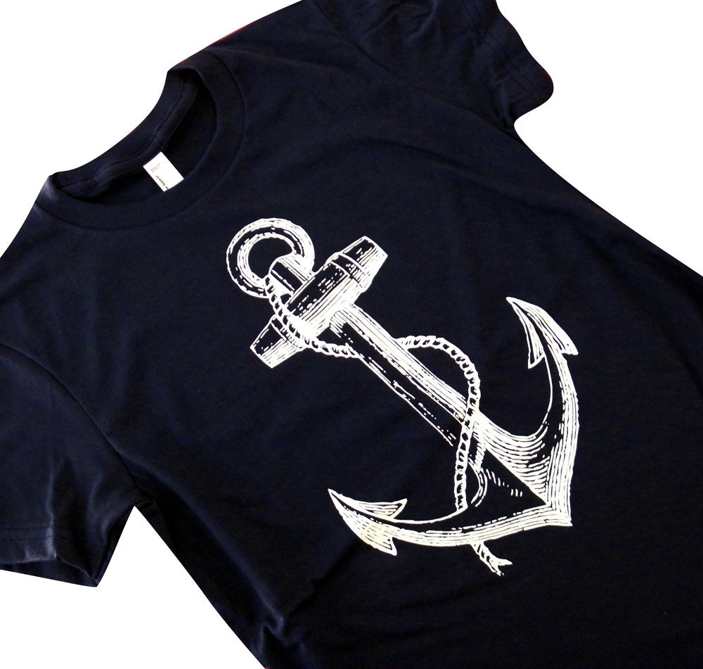 Anchor T Shirt Nautical Sailor Print On A Navy American