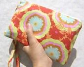Gift pouch 2 pockets bridesmaids flower girls bag wedding clutch orange - Buttercups Honeydew