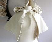 "Snow Queen Velvet Hooded Capelet  Bride's Cape 16"""