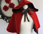 Red Riding Hood Cape red velvet hooded capelet for adults