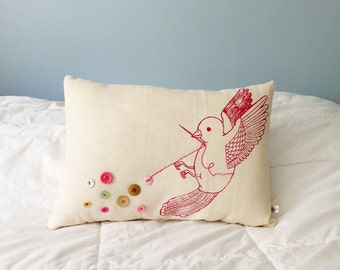 Button Bird Pillow, button collector, mixed media decor, sewing bird cushion, pink button art - Pink