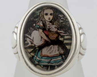 Alice Holding The White Rabbit Sterling Silver or Bronze Ring  (Sizes 5-14 w/ half sizes)