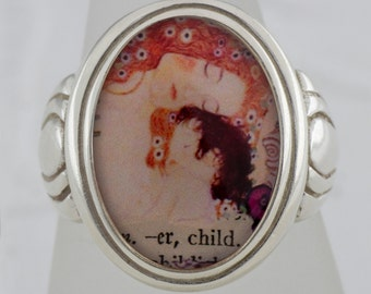 Klimt Mother and Child Sterling Silver Ring  (Sizes 5-10 w/ half sizes)