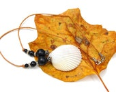 Seashell Necklace on Leather Cord with Black Onyx Beads