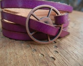 Leather Wrap Bracelet in Violet leather with Large Copper buckle