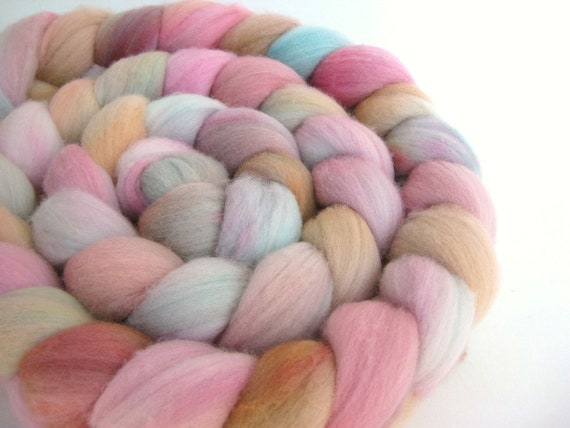 Hand Dyed Roving - Merino Wool - Hand Painted - Spinning - Felting - Sunset - 4.3 Ounces