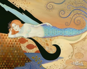 B K Lusk Large Art Nouveau Painting Mermaid Seascape Siren Abstract Goddess