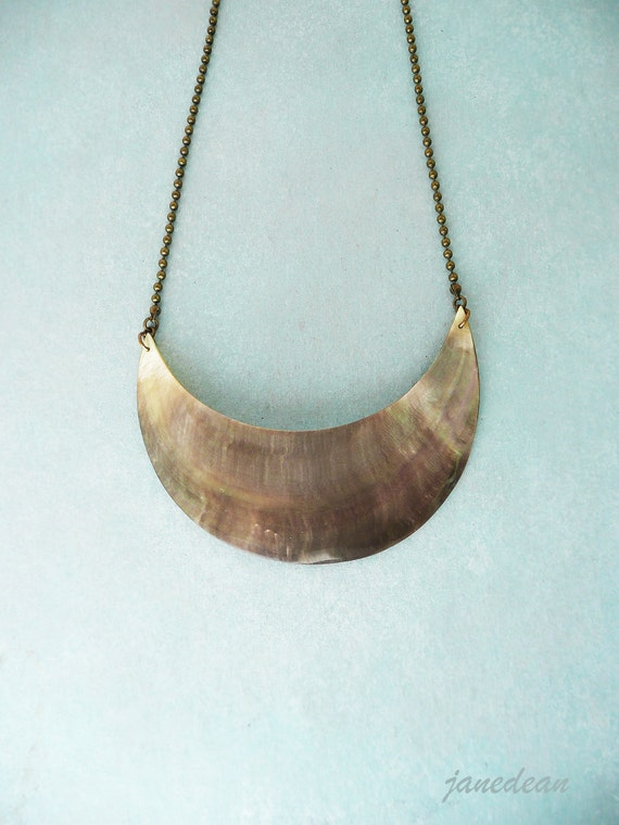 Shell Crescent Necklace - large pendant on brass ball chain