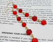 Ruby Red - long glass flower bead earrings