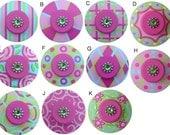 Aqua Pink Green Swarvoski Crystal Jeweled Hand Painted Wood Dresser Furniture Decorative Girl Kids Drawer Knobs Pulls