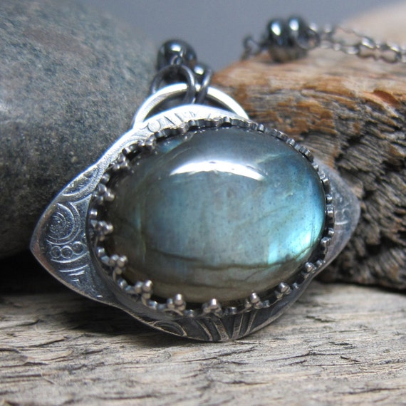 RESERVED for Olivia - Queens of Witches - Kybele Necklace ... Fine Silver Bezel with Blue Fire Labradorite