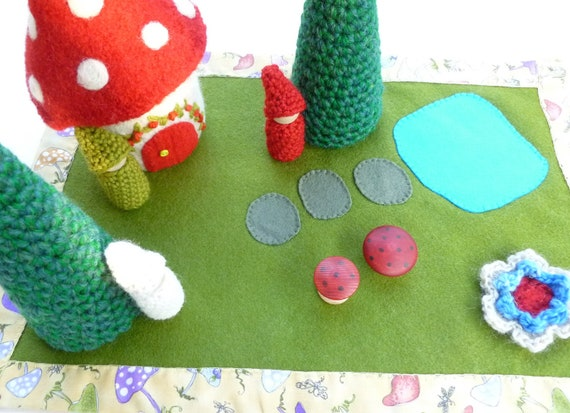 Felted Wool Gnome Home and play mat set reserved for Sarah