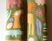 Car Seat Strap Covers - Reversible - 2 D Zoo in Sage with Minky Dot - Ready to Ship
