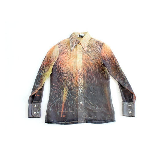 vintage 1970's photo realistic SHEER FIREWORK print blouse