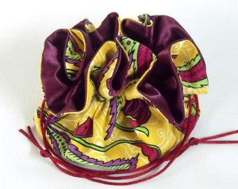 Jewelry Drawstring Travel Pouch Calypso in Yellow Medium