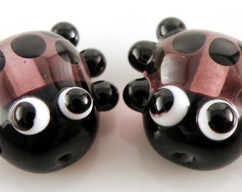 Transparent Purple Ladybug Mini Focal Pair - Handmade Lampwork Glass Earring Pair - Transparent Purple and Black - SRA