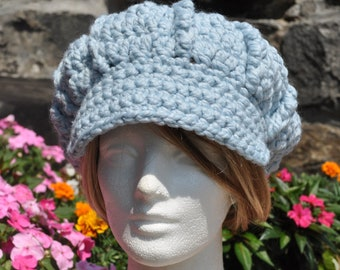 Light Blue Newsboy Hat - Crocheted Hat with Brim - Women's Hat - Winter Hat