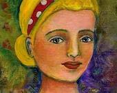 Mixed Media painting   Polka dot Girl Love Acrylics Original Art