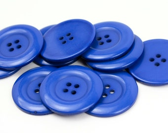 8 Big Blue Resin Buttons - 38mm 1.5 inches - 4 holes - 8 pcs