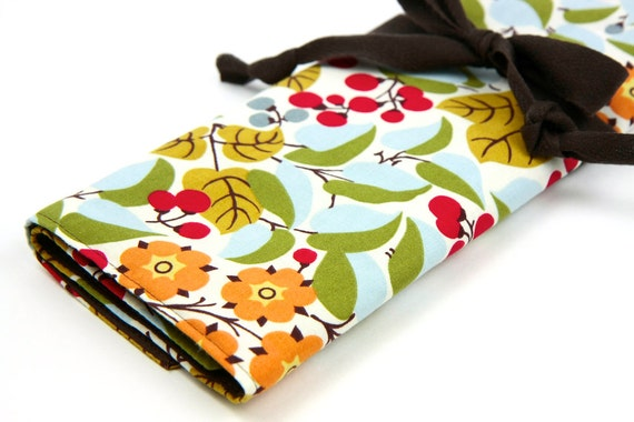 Large Knitting Needle Case - Holly - multi 30 brown pockets for all sizes or paint brushes, colored pencils