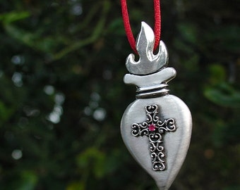 Sacred Heart Sterling Silver With Filigree cross And Genuine Ruby Pendant Necklace One Of A Kind Artist Made Los Angeles