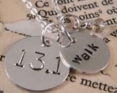 13.1 walk half marathon silver pendants and chain