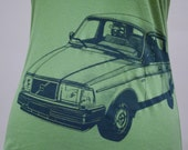 Volvo 240 Ladies Tee Shirt Green