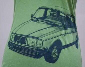 Volvo 240 Ladies Tee Shirt Green