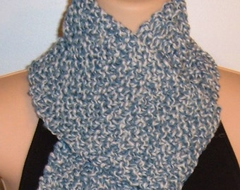 SALE Hand Made Knit Scarf Blue White Acrylic Wool Unisex