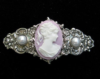 Hair Barrette Lilac and White Profile Cameo with Faux Pearl Accents