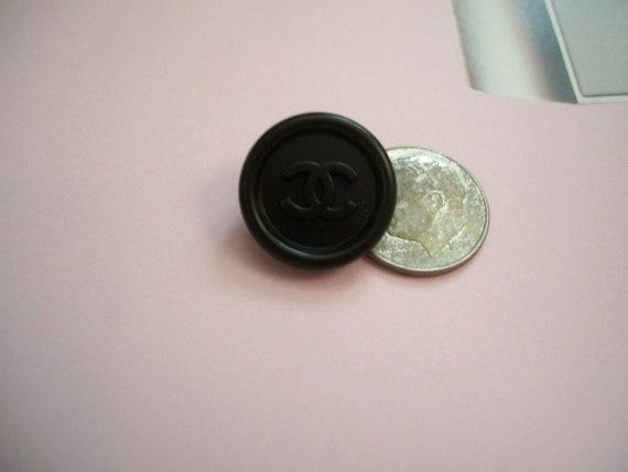 Rare vintage CHANEL button black matte shine satin finish CC logo retro authentic signed metal back